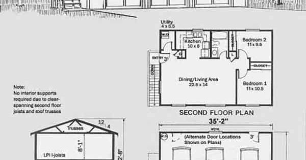Behm design 2 story apartment garage plan no 1632 1 the for 1 story garage apartment plans
