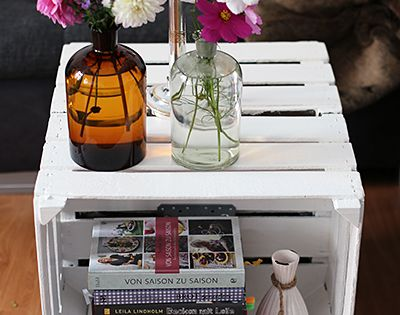 diy tisch aus obstkisten deko pinterest selber machen. Black Bedroom Furniture Sets. Home Design Ideas