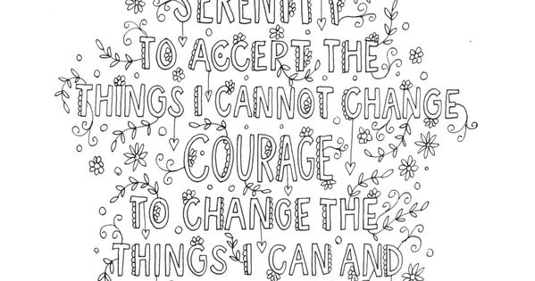 Serenity Prayer Quote Coloring Page INSTANT DOWNLOAD