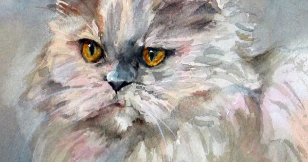 Persian Cat Print Of Watercolor Painting By Ediefaganart On Etsy This Pretty White And Gray Cat Print Makes A Perfect G Watercolor Cat Cat Art Persian Cat Art