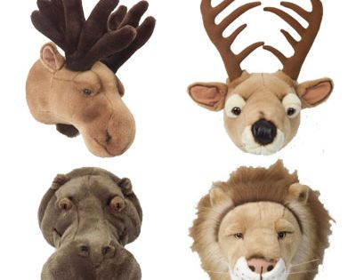 Plush baby wall mounts for a hunting themed room.