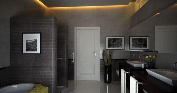 badezimmer grau mit abgehönter badezimmer decke | bathroom | pinterest, Hause ideen