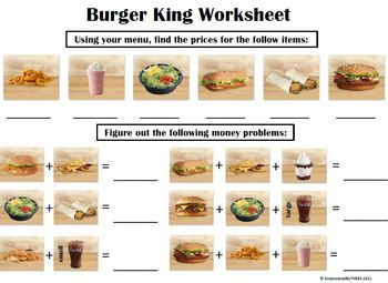 Burger King Money Menu Math Everyday Math Math Worksheets Math