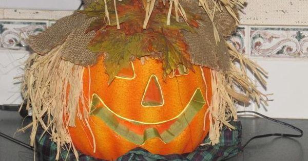 12 fiber optic scarecrow pumpkin halloween decoration for Fiber optic halloween decorations home