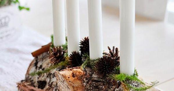 Landhaus deko tischdekoration holz kerze weihnachtsdeko - Weihnachtsdeko landhaus ...