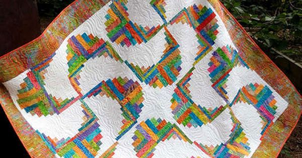 Rainbow Swirls Log Cabin Quilt Pattern By Cut Loose Press