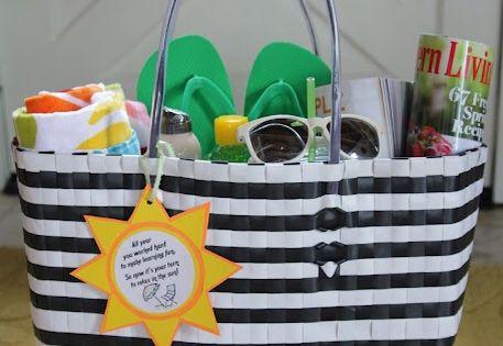 Summer Relaxation Kit for teachers. Includes beach towel, sunglasses, flip flops, 2