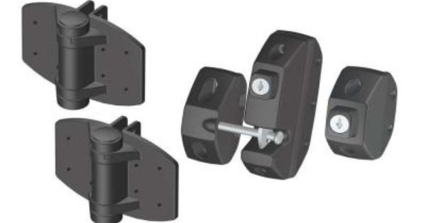 Clark gate hardware kit includes 2 spring loaded self-closing gate hinges  and a locking gate latch with external entry.