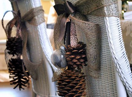 Pine Cone Chair Tie Backs. Gorgeous chair decorating.