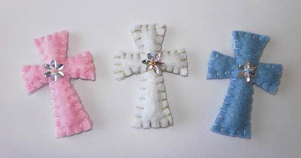 Felt crosses make lovely baby shower christening or for Wedding crafts to make and sell