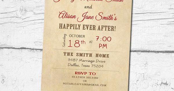 Happily Ever After Wedding Invitations: Vintage Rustic Happily Ever After Invitation