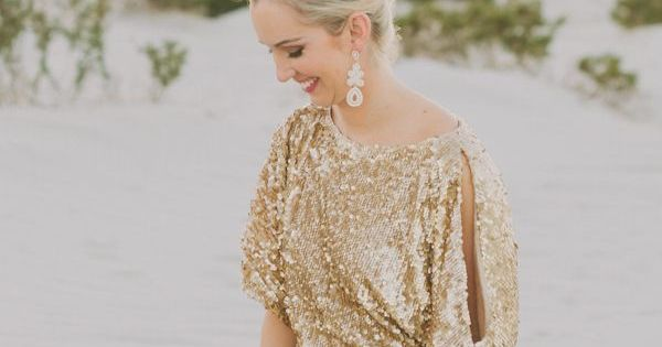 gold glittering bridesmaid dresses | Bride in One hand sequin dress. Photo