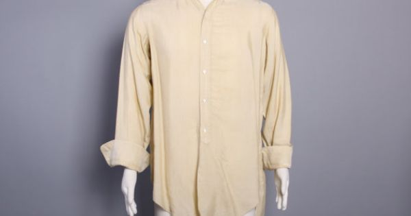20s Silk Men 39 S Shirt Ivory Detachable Collar French