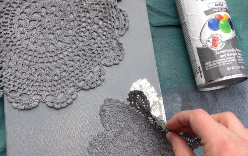Spray painted doily canvas. I think these would be great with your