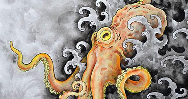orange kraken artwork