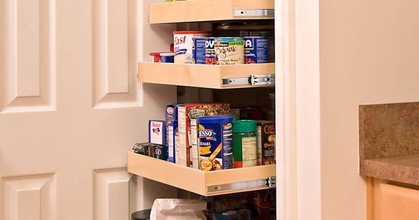 Take out shelving and install slide out drawers (in kitchen and hallway