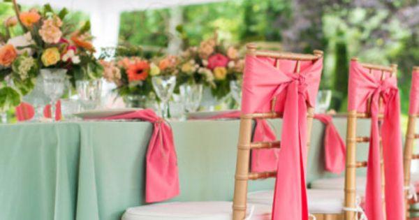 Decoration Mariage Couleur Vert D Eau : Décoration de mariage vert d eau peche et corail