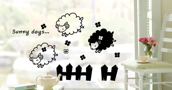 X 3003 petit mouton sofa stickersductilit mur de verre - Stickers mouton chambre bebe ...