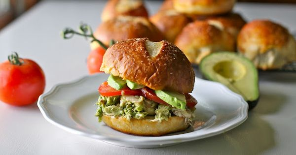 Pesto Chicken Salad on Pretzel Buns / Yammie's Noshery Yum!