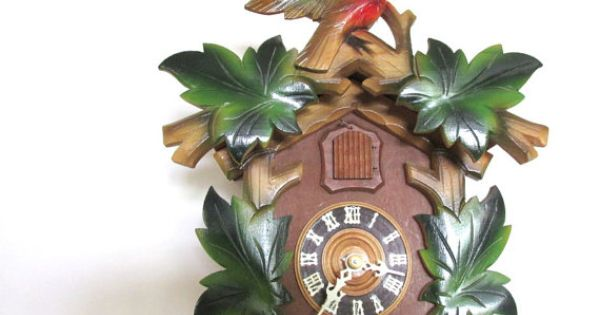 Colorful Wooden Cuckoo Clock Made In Germany By Creeklifetreasures Vintage And Antique