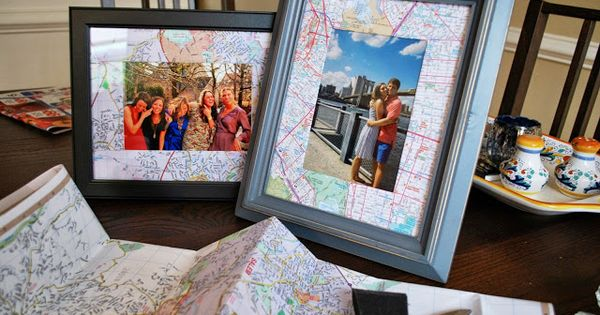 Diy map picture frame bevy richmond decoration with for Dekoration und display