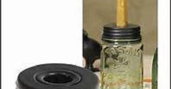 Mason Jar Taper Candle Holder Lid Primitive Coastal Country Mason Jar Accessories Mason Jar Lids Mason Jars For Sale