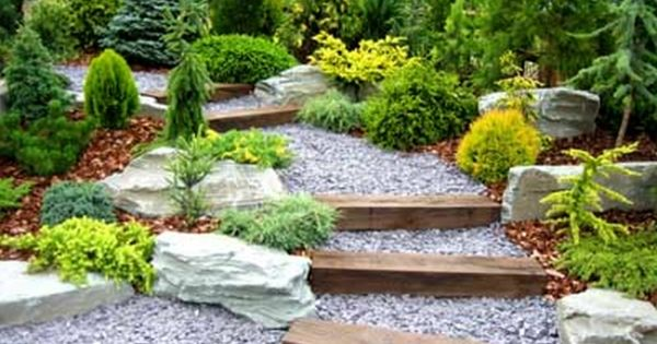 gartengestaltung beispiele nadelb ume holzstufen gardening pinterest gartengestaltung. Black Bedroom Furniture Sets. Home Design Ideas