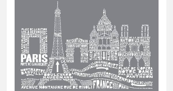 Family Art, 11x14, Paris Skyline Typography Print, Museum Quality Art Print