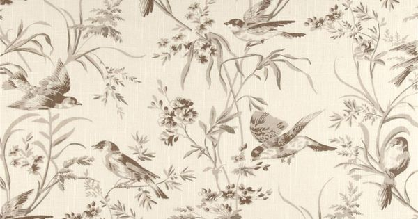 French General Bird Toile Blend Bisque from @fabricdotcom Screen-printed on a linen ...