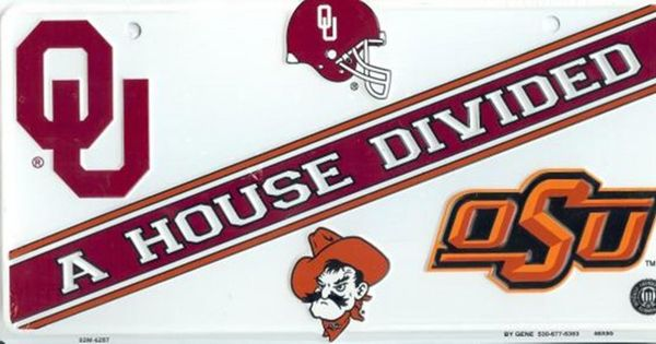 Oklahoma Oklahoma St House Divided License Plate Ncaa
