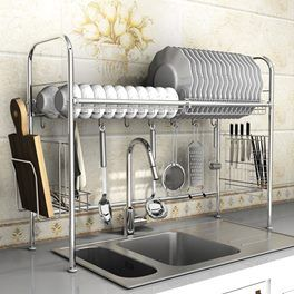 High Quality 304 Stainless Steel Dish Bowl Drying Rack Over Sink Kitchen Storage Stand Knives Chops Kitchen Sink Design Kitchen Sink Drying Rack Kitchen Design
