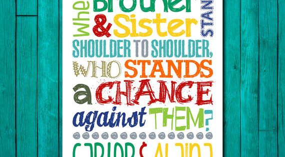 Brother Amp Sister Sibling Wall Art Kids Room Decor