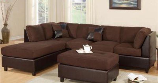 Left Chocolate Sectional Sofa Set W Chaise And Ottoman Com Imagens Conjunto De Sofa