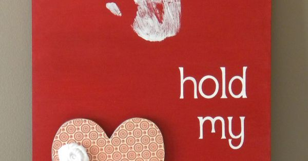 Valentine Sign with Hand Prints. Sweet keepsake for Mommy and Daddy or