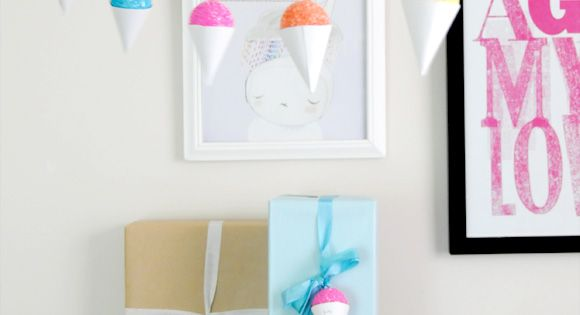 DIY Faux Snow Cone Party Garland & Gift Embellishment.