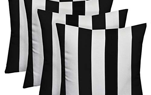 Best Seller Resort Spa Home Decor Set 4 Indoor Outdoor Square Decorative Throw Toss Pillows Black White Stripe Fabric Choose Size 17 X 17 Online Tophitsgo In 2020 Striped Outdoor Pillow Black