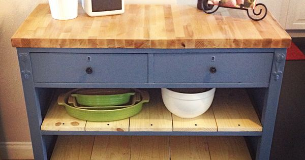 Repurposed Antique Dresser As A Kitchen Island With A
