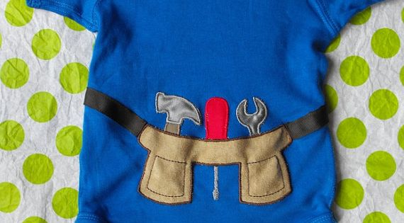Tool belt onesie. My little boy will be such a stud.