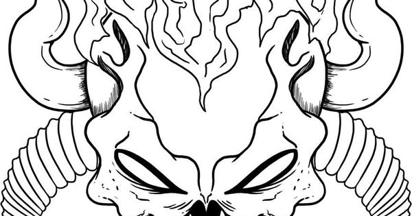 flaming skull coloring pages | Scary Flaming Skulls Pages Coloring Pages