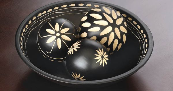 4 Pc Black Amp White Carved Wood African Design Decorative