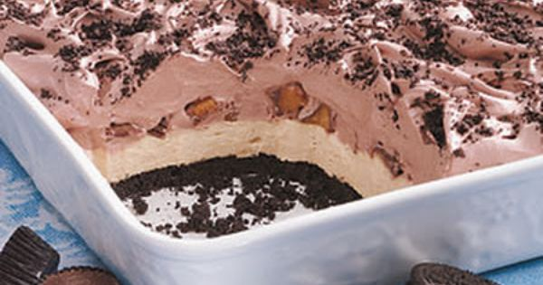 Peanut Butter Chocolate Dessert Recipe - Oreos, Peanut Butter Cups, Cream Cheese,
