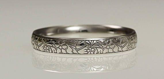 Platinum 3mm Wedding Ring Flower Engraved Ladies Wedding Band Ring Engagement Ring Birthday Present Hatton Garden London Jewellers Womens Wedding Bands Engraved Wedding Rings Wedding Ring Bands