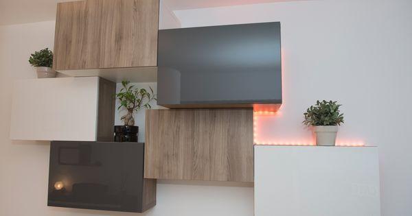 composition rangement mural ikea besta bois gris blanc leds virginie boyer daumas. Black Bedroom Furniture Sets. Home Design Ideas