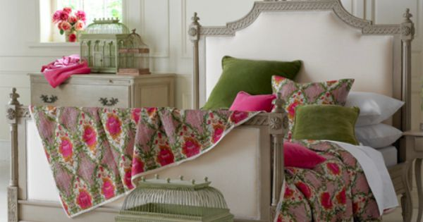 pink and green bedroom | Shabby Chic French Country Bedroom