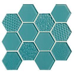 American Olean Color Appeal Entourage Felicity Hexagon Glass C108 Fountain Blue Glass Tile Mosaic Blue Glass Tile Blue Fountain Olean