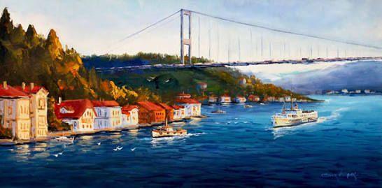 Yagli Boya Istanbul Bogaz Koprusu Ile Ilgili Gorsel Sonucu Tablolar Resim Resim Sanati
