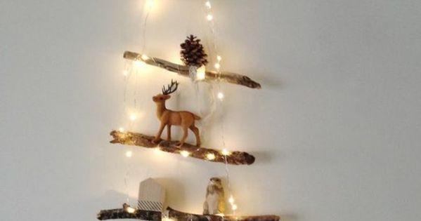 Treibholz wanddeko weihnachtsbaum aus holz mit kleinen figuren schwarzer stern tannenzapfen - Schwarzer weihnachtsbaum ...
