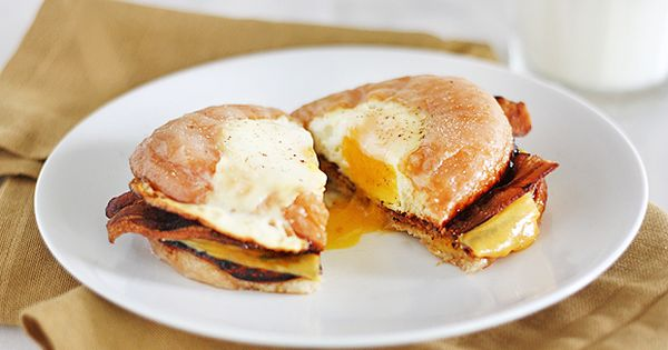 Breakfast sandwiches, Fried eggs and Donuts on Pinterest