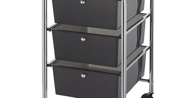 Metal rolling cart with storage bins alvin blue hills for Ikea metal cart with drawers