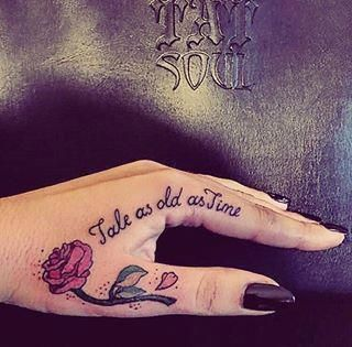 This Beautiful Quote Community Post 21 Of The Coolest Beauty And The Beast Tattoos Prettyta Beauty And The Beast Tattoo Beauty Tattoos Cute Hand Tattoos